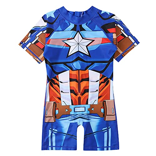 XNheadPS Vengadores Capitán América Traje de baño Niños Spiderman Natación Disfraz natación para niños Manga Corta Surfsuit Niñas Vacaciones Playa Verano,Blue- Kid M(110~125cm)
