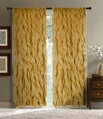 "Sapphire Home 2 Cascade Curtain Panels, Pink Ruffle 84"" Curtain Panels, Sheer Voile Vertical Ruffled Curtain Panels, Cascade 84"" Gold/Bronze"