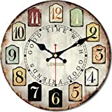 MEISTAR Creative Colorful Arabic Numerals Simple Wall Clock,12 Inch Wood Tuscan Style Antique Retro Wall Clock for Kids Room,Children Room,Dining Room