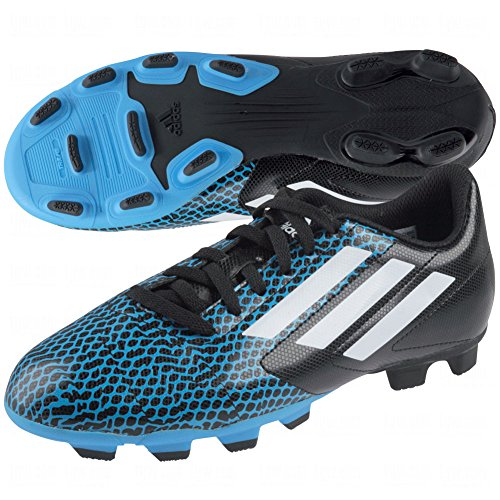 adidas New Conquisto FG J Youth Molded Soccer Cleat Size 2.5 Black/White/Blue