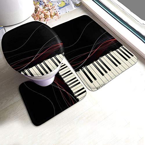 RedBeans rutschfeste Badematte, 3-teiliges Flanell-Badezimmerteppich-Set, Musikalische Tastatur, weicher WC-Vorleger