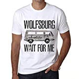 Hombre Camiseta Vintage T-Shirt Gráfico Wolfsburg Wait For Me Blanco