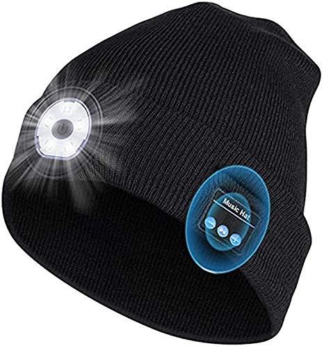 ENCOMAG Cappello Musicale Bluetooth con LED Luce, Ricaricabile USB Berretto con Lampada, Berretto Invernale Lavorato a Maglia e Lavabile, Utilizzato per Corsa, Ciclismo, Sci, Campeggio