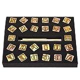 26 letras de Sello de punzón, conjunto de punzones de sello de metal de 13 mm Diseño vintage Alfabeto 26 Cartas de herramienta de troqueles Craft