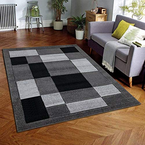 B&B Kitchen Rugs Non Slip Washable - 120 X 170 Cm - heavy duty box pattern modern Living Room Geometric Rug Bedroom - Dark grey