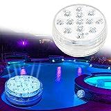 Luz subacuática impermeable, accesorios para bañera de hidromasaje LED, 13 luces LED RGB sumergibles de piscina con control remoto para estanque decoración