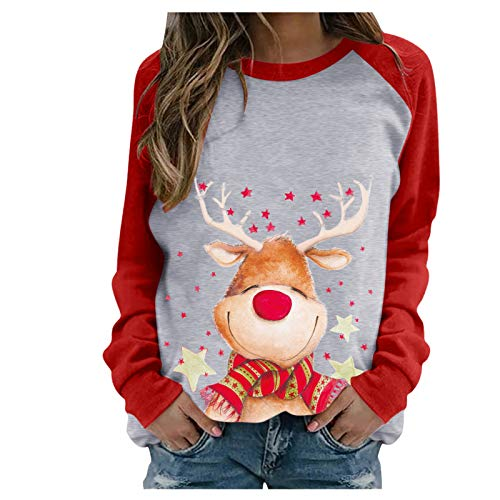 Pullover Tops for Women Christmas Graphic Sweatshirts Solid Color Casual Long Sleeve Blouses Shirts Sweaters