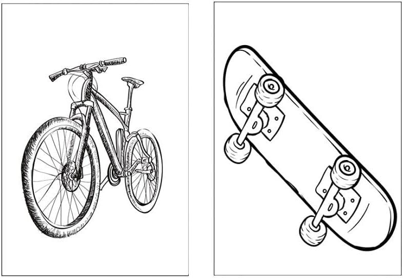 2 uds,Dibujo lineal de dibujos animados,bicicleta,scooter,carteles nórdicos e impresiones,arte de pared,lienzo,pintura,cuadros,dormitorio,sin marco,40x60cm/15.7*23.6inch