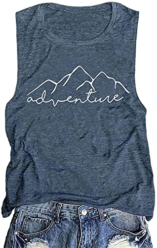 Workout Athletic Mountain Adventure Shirts for Women Summer Funny Graphic Letter Printed Tank Tops Muscle Beach Tees, Ink Blue L