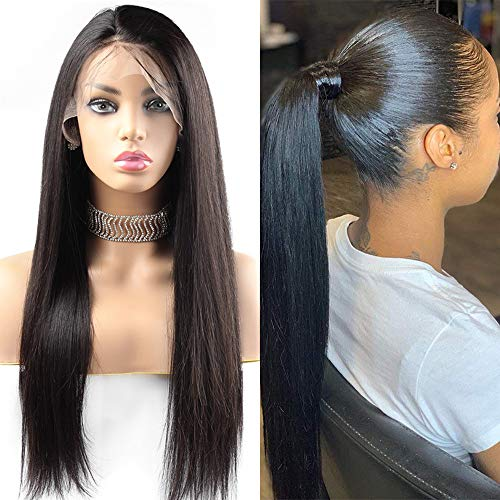 Giannay Straight Lace Front Wigs Glueless Wig for Black Women Synthetic Lace Wig 180% Density Wigs Pre Plucked Hairline With Baby Hair Heat Resistant 24 Inch