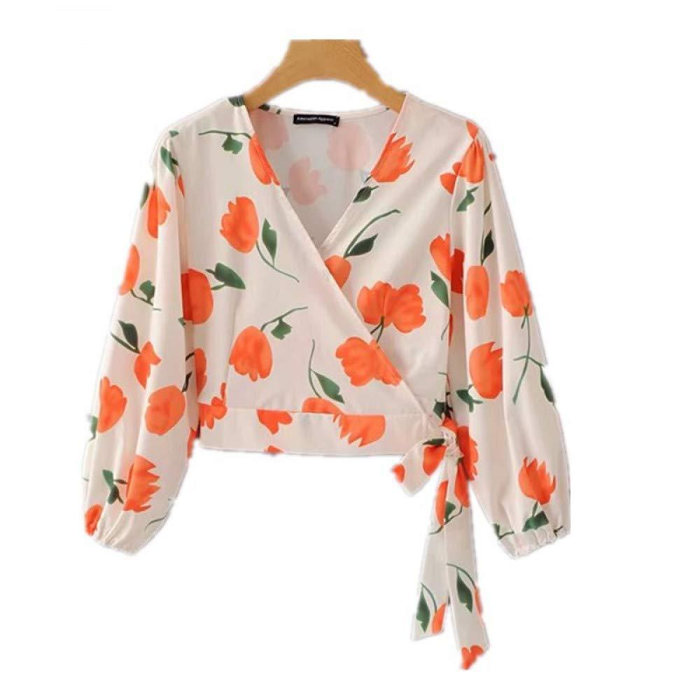 Cnsdy Camisas para Mujeres Camisetas de Manga Larga Camisa de Tul con Estampado de Tulipanes Cortos con Cuello en V: Amazon.es: Deportes y aire libre
