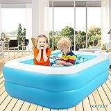 KKTECT Piscine de Jeu Gonflable Bleu rectangulaire Piscine Gonflable pour Enfants Jeu d'été en Plein air Jardin Jouet pulvérisation d'eau Jeu d'été pour Enfants (128cm x 85cm x 45cm)