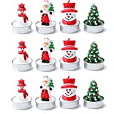 Christmas Candles Unscented Tea Lights Home Decoration for Xmas Tealight Candles Santa, Pine Cones, Trees, Hats, Socks 12 Tealights 4 Styles Xmas Lovely Candle (NO4) (NO2)