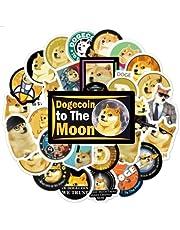 50 szt. dogecoin monety nowość mem naklejka na butelki z wodą - śmieszne słodkie naklejki dekoracja dla nastolatków, dziewcząt, chłopców, dorosłych - naklejki idealne na laptopa, telefon, butelkę wody, bagaż