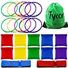 Vykor Bean Bag Throwing Game Set,10 Pieces Solid Plastic Toss Rings and 10 Pieces Nylon Bean Bags,Outdoor 3 in 1 Christmas Carnival Game for Kids Indoor Outdoor Party Family Garden Sports Games