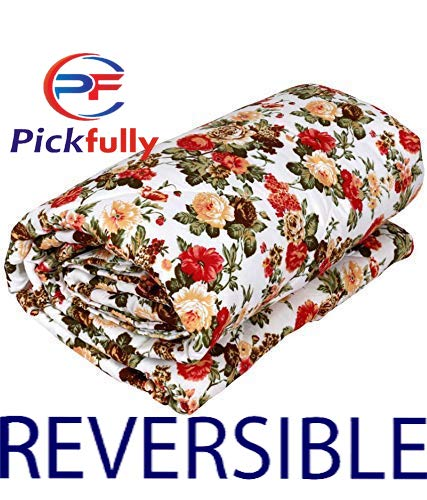 PF With Pickfully Beautifully Soft and Skin Friendly Microfiber Floral Design Printed Single Bed AC Blanket/Dohar/Quilt (Red)