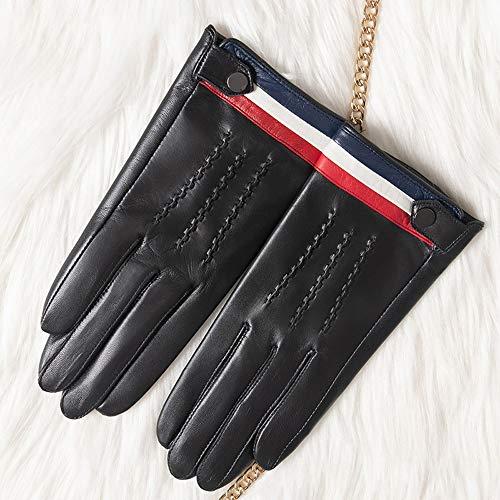 Decbde Button Fäustling Damen Lammfell-Handschuhe Touch Screen Mitt Klassische Fahr Mittens-Reithandschuh Kälte Handschuhe Fashion Handschuhe windundurchlässige Handschuhe Winter warme Handschuhe