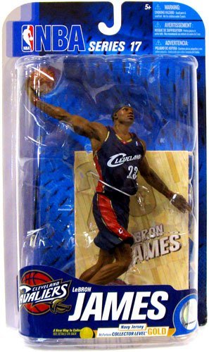 McFarlane Toys NBA Sports Picks Series 17 2009 Wave 2 Action Figure Lebron James (Cleveland Cavaliers) Navy Jersey Gold Collector Level Chase