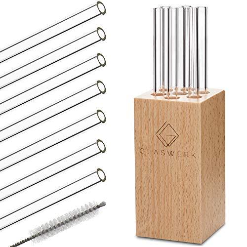 Cannucce in vetro (7 pezzi – 15 cm di lunghezza) con elegante supporto in legno e spazzola per la pulizia, cannucce riutilizzabili in vetro molto robusto.