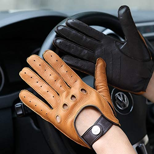 Deerskin Gloves Male New Real Leather Gloves Man Locomotive Driving Gloves Non-Slip Breathable Mittens M065W-2 - (Color: brown sand, Gloves Size: L)