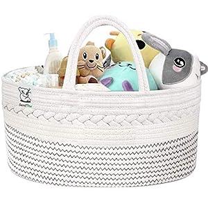 SENDTHX Baby Diaper Caddy Organizer-100% Cotton Canvas Stylish Rope Nursery Storage Bin Portable Diaper Storage Basket for Changing Table & Car