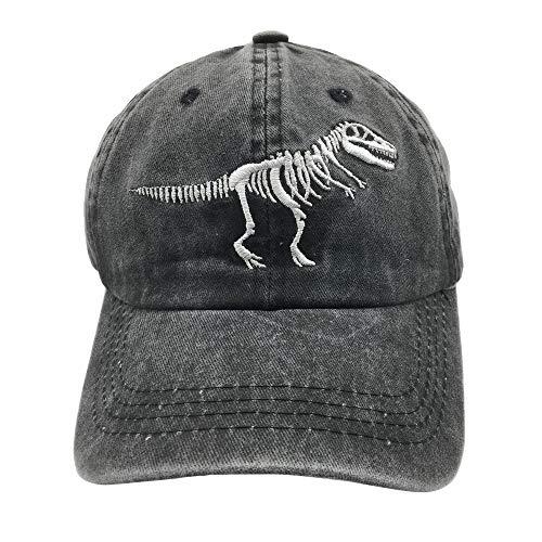 NVJUI JUFOPL Baseballkappe für Jungen, Totenkopf-Motiv, Dinosaurier, bestickt, Vintage-Design, Schwarz