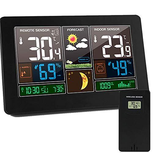 ALLOMN Station Météo sans Fil, Horloge Météo Multifonctionnelle, Thermomètre Extérieur/Hygromètre Extérieur/12/24H/Calendrier/Phase de Lune/Répétition D'alarme/4 Niveaux de Rétroéclairage/Prise EU