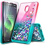 NZND Case for Nokia 3.1A (AT&T) / Nokia 3.1C (Cricket Wireless) with Tempered Glass Screen Protector, Glitter Liquid Floating Waterfall Durable Girls Cute Phone Case Cover (Gradient Pink/Aqua)
