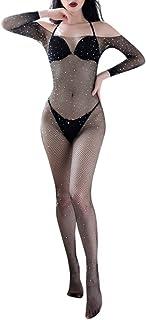 b5eaee561d6 Cywulin Women s Sexy Fishnet Crotchless Bodystocking Open Crotch Bodysuits  Glitter Sparkle Rhinestone Lingerie Babydoll