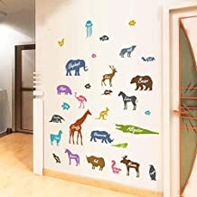 ملصقات حائط - ملصق حائط بصورة ظلية حيوانات لغرف الأطفال والأطفال ديكور المنزل الشارات ورق جدران لغرف الأطفال ملصقات مختلطة