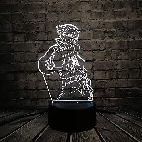 Juego de dibujos animados Figura LOL Ezreal3D LED Lámpara USB Ilusión Atmósfera Colorida Luz nocturna Cool Boy Decoración de la habitación Juguetes para niños