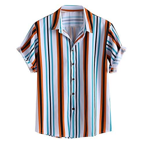 Hemd heren korte mouw Hawaii hemd vintage met strepen korte mouwen met knoop man kort mouwen omlegkraag blouse