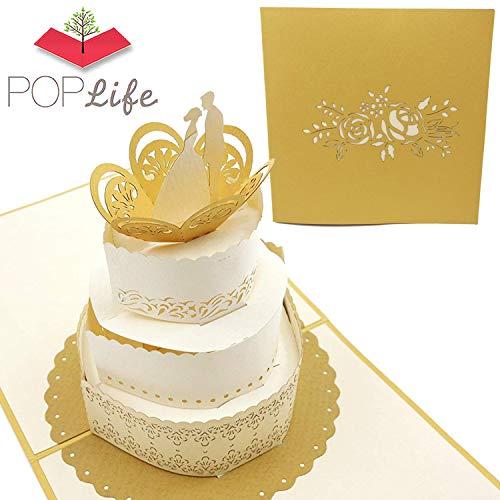 PopLife-Hochzeitstorte Pop Up-Karte für jede Feier oder jeden Anlass - Hochzeitskarte, Verlobungsgeschenk, Hochzeitsgrußkarte, Glückwunsch, Brautpartykarten - Flach gefaltet, perfekt für Mailing
