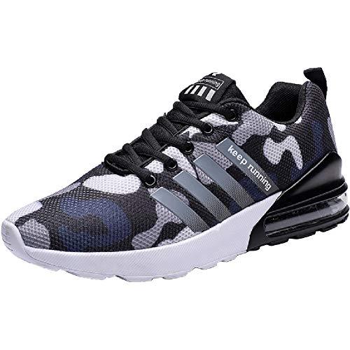 Wealsex Zapatos para Correr En Montaña Asfalto Aire Libre Deportes Zapatillas De Running para Hombre (39 EU, Camuflaje Azul)