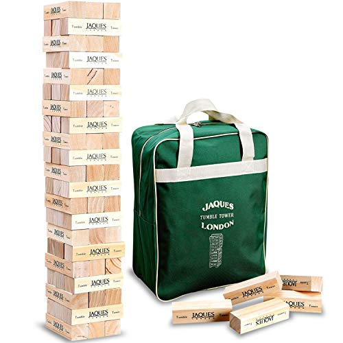 Jaques of London Giant Tumble Tower Including Canvas Bag. Great Garden Games for Adults and Kids Toys. Larger and Smaller Size Tumble Tower Wooden Toys Available.