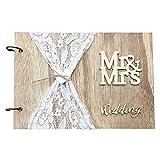 Opaltool Libro de visitas de boda personalizable, libro de visitas de madera alternativo con encaje para aniversario de boda, cumpleaños, 40 páginas, 28 x 21 cm