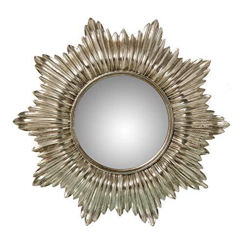 DRW Espejo de Resina Redondo con Forma de Sol Plateado 51x3,3cm, Interior 22cm