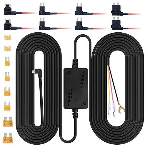 ThiEYE Dashcam Hardwire Kit, Mini USB-Anschluss, DC 12V - 30V, 5V/2.8A Max Auto Ladegerät Kabelsatz mit Sicherung, Low Voltage Schutz für Dash Cam Kameras (Mini USB und Fuse Kit)