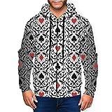 BODY Sudaderas con Capucha para Hombre con diseño de símbolos de Poker Card Negro Negro (XXXL