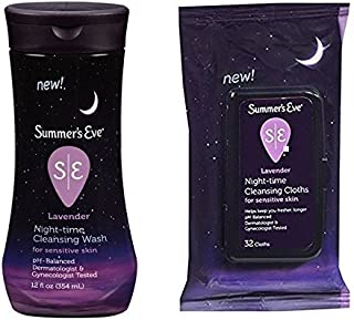 Summer's Eve Night-time Bundle: (1) 12 Fl. Oz. Cleansing Wash and (1) 32 Count Cleansing Cloths, Lavender Scented