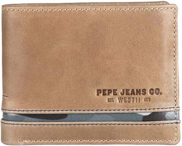 Pepe Jeans Delta Cartera horizontal con Billetera extraible Marrón 11x8,5x1 cms Piel