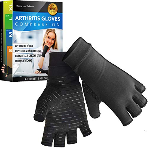 Glalove Copper Fit Compression Gloves, Copper Infused Compression Gloves for Men and Women, Carpal Tunnel, Arthritis Gloves for Pain Relief, Healing, Hand Arthritis, Typing, and Daily Work (Medium)