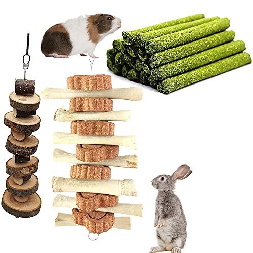 Juguete para masticar con forma de conejo, hámsters, palitos de manzana, palitos de heno, juguetes para masticar para cobayas, chinchilla
