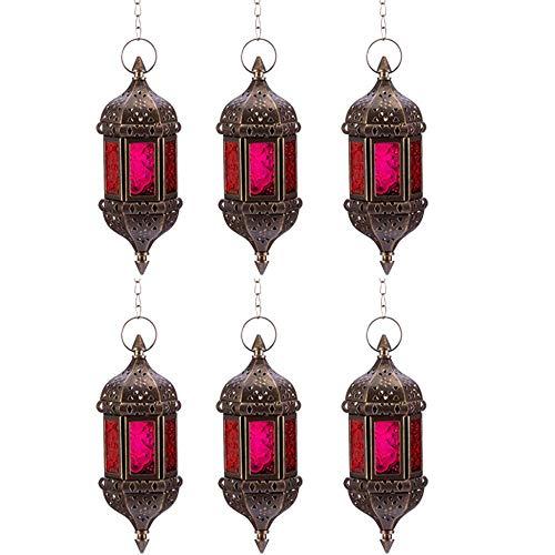 yunyu Candle Holders, 6 Pcs Hanging Hexagon Decorative Candle Lantern Holders, Handmade Hanging Tea Light Holder in Bronze Metal & Red & Purple Glass Gift & Decor Items