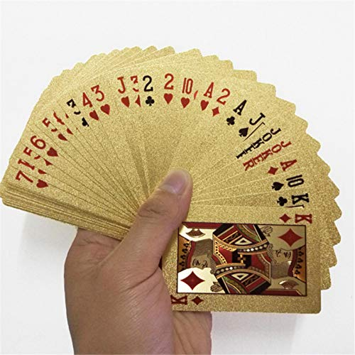 Juego de cartas de póker en hoja de oro de lujo – Tarjetas de jugar, de plástico impermeable – Herramienta de torres de magia para la fiesta de juego de cartas en familia dorada