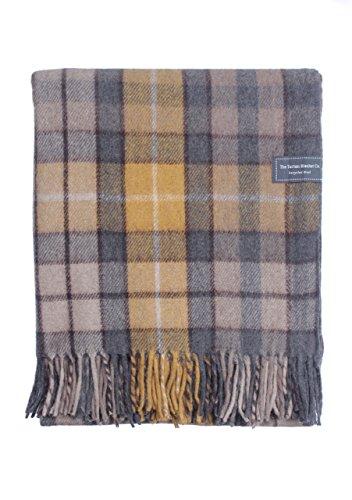 The Tartan Blanket Co. Recycelte Wolldecke Schoßgröße Schottenmuster - Buchanan Natural (72cm x 165cm)