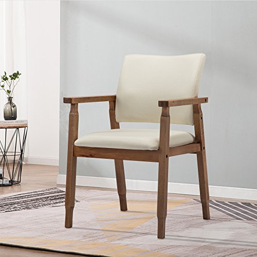 Mid Century Modern Walnut Dining Chairs Wood Arm Beige Fabric Kitchen Cafe Living Room Decor Furniture