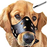 Barkless Dog Muzzle Leather, Comfort Secure Anti-Barking Muzzles for Dog, Breathable and Adjustable, Allows Drinking and Eating, Used with Collars (M, Black)