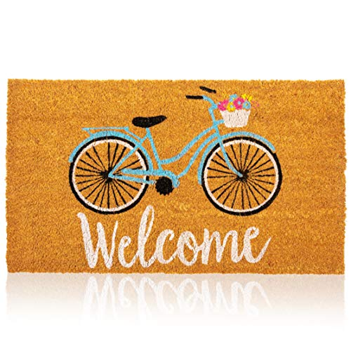 Natural Coir Doormat, Bicycle Welcome Mat (30 x 17 Inches)
