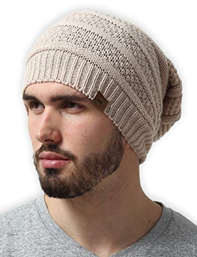 Slouchy Winter Beanie Knit Hats for Men & Women - Oversized Long Slouch Beanie Cap - Warm & Soft Cold Weather Toboggan Caps Beige